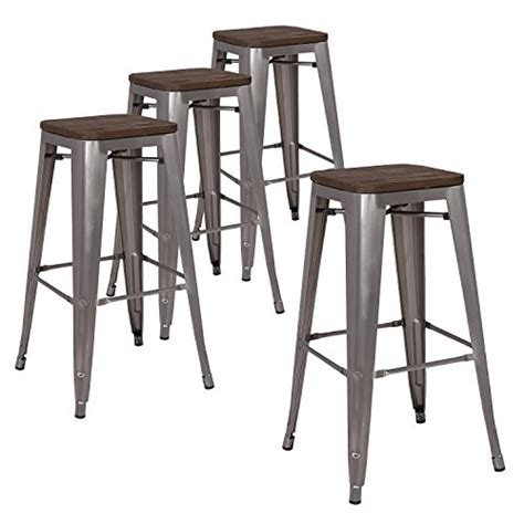Stackable Counter Height Bar Stools by Lch 30 Quot Metal Industrial Stackable Bar Stools Set Of 4