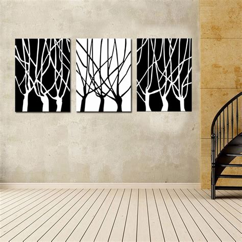 modern wall hanging 3 picture combination black and white of tree wall