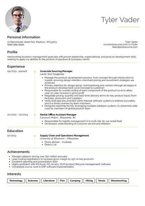 resume sle for management students business management graduate cv exle resume sles career help center