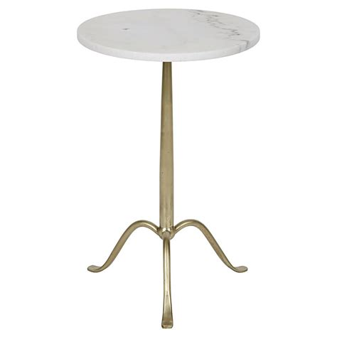 Quartz Side Table Ansley Modern Antique Brass Tripod White Quartz Side Table