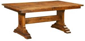 Solid Wood Dining Table With Bench Amish Rustic Trestle Dining Table Bench Rectangle Extending Solid Wood Rustic Ebay