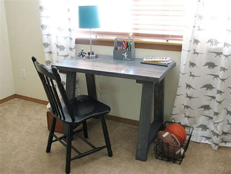 diy small desk white simple small trestle desk diy projects
