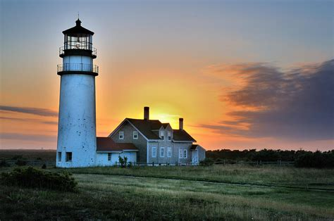 Lighthouse House Plans Highland Lighthouse Sunset Burst Photograph By