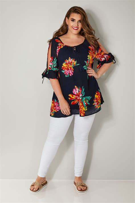 div placement navy multi tropical floral print top with split