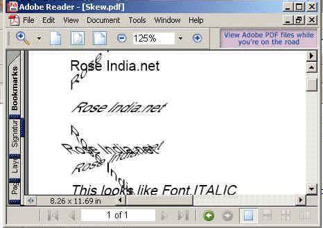 tutorial java itext skewing text