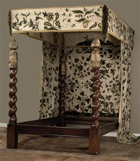 four poster bed canopy curtains a four poster bed with crewelwork canopy and curtains the bedposts 18th century and later the