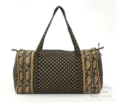 Quilted Travel Bag by Deux 2pc Black Orange Paisley Quilted Fabric