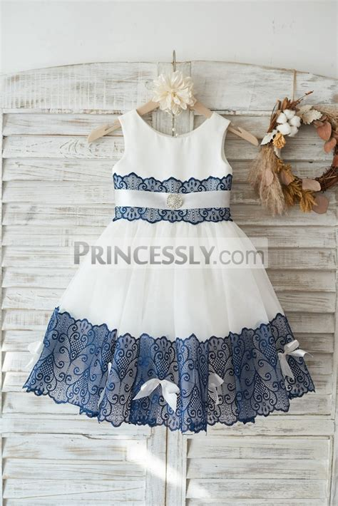 Dress Navy Flower With Belt ivory satin tulle navy blue lace wedding flower dress with sash bows avivaly
