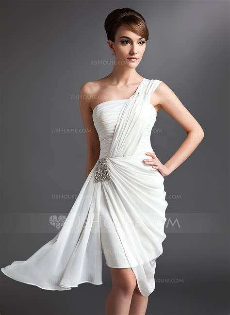 Dress Cocktail by Sheath Column One Shoulder Asymmetrical Chiffon Cocktail