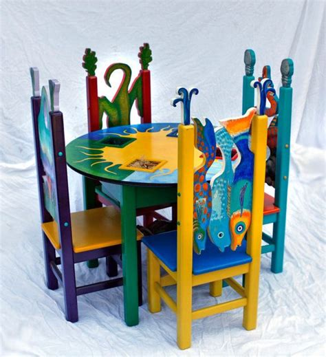 childrens painted table and chairs whimsical children s table 4 chair set painted