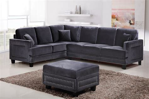 nailhead trim sectional braylee modern grey velvet sectional sofa with nailhead trim