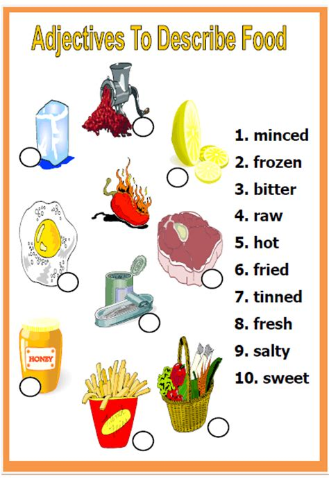 Adjectives to Describe Food Worksheet Word 2007 Clipart Not Working