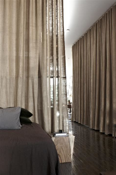 drapes on ceiling bedroom steal this look scott newkirk curtained bedroom burlap