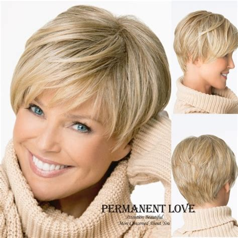 short hair longer on top and over ears natuurlijke rechte blonde pruik met pony korte pixie cut