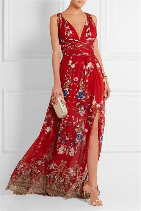 Dress Silk Print White Flower Af793 Import roberto cavalli floral print pliss 233 silk georgette gown net a porter 5