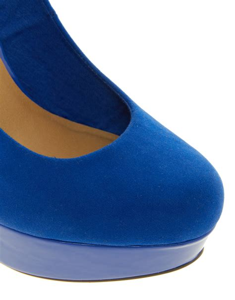 Punched Cut Out Platform Wedges At Asos by Lyst Asos Asos Push It Platform Shoes In Blue