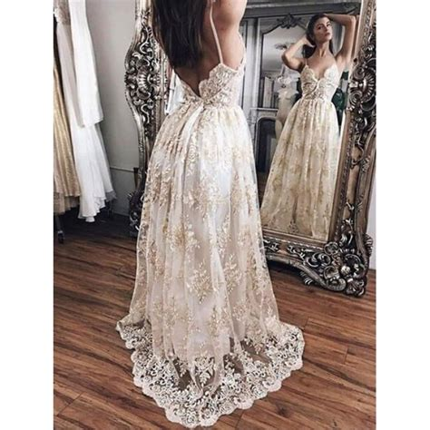 24325 Brown Back Lace Summer Dress a line evening dresses chagne a line princess prom