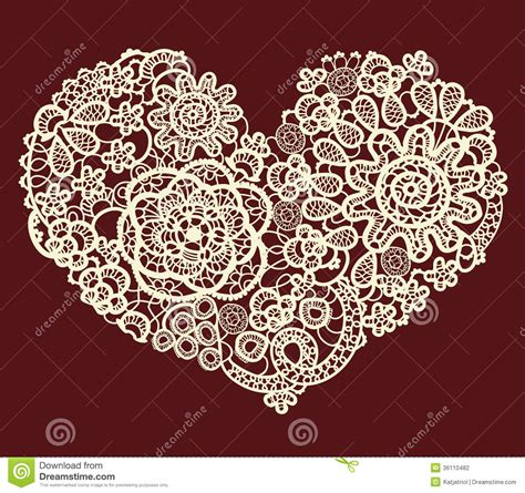 heart pattern lace vector vintage lace heart stock vector illustration of