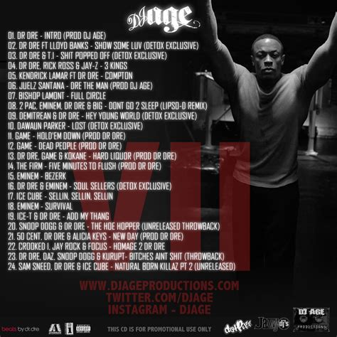 Dr Dre Detox by Dj Age Dj Age Presents Dr Dre The Detox Chroniclez Vol 7