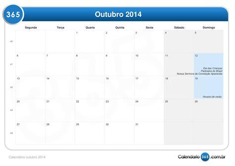 Calendario 365 Es 2014 Calend 225 Outubro 2014