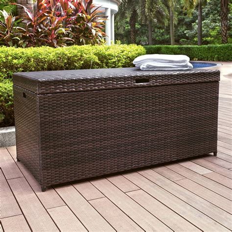 crosley co7300 br palm harbor outdoor wicker storage chest