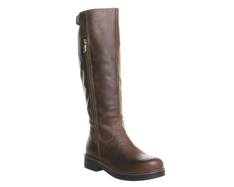 womens office eagle casual buckle knee boots brown leather