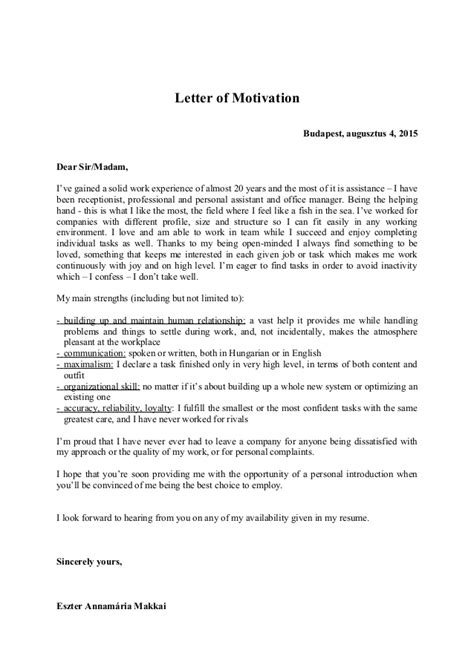Motivation Letter Beispiel Letter Of Motivation 2015