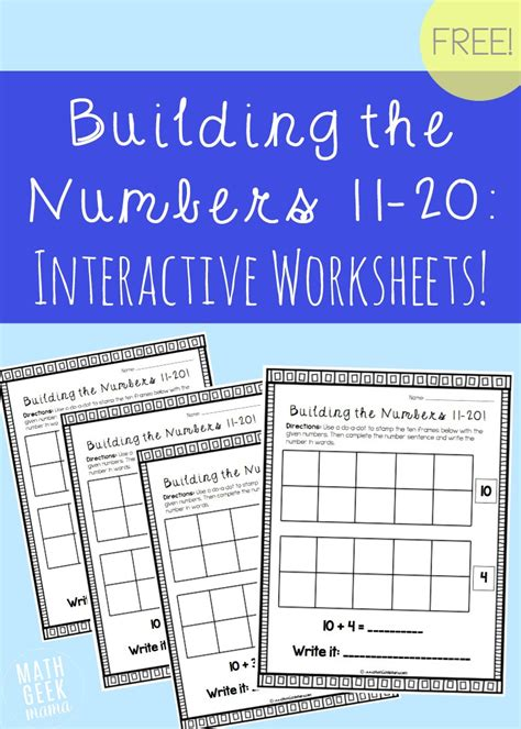 Building Valuation Worksheet Building The Numbers 11 20 Free Printables
