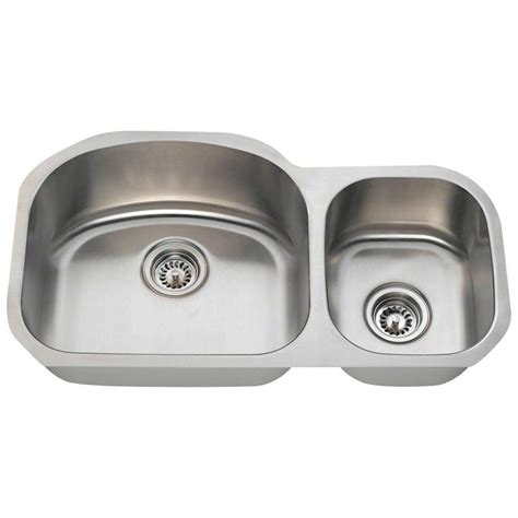 undermount kitchen sinks stainless steel polaris sinks undermount stainless steel 32 in double bowl kitchen sink pl105 16 the home depot