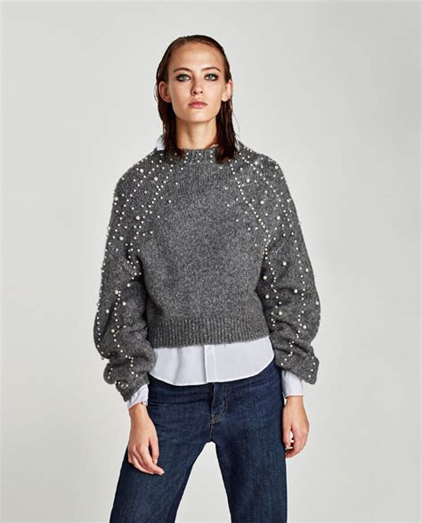 Sweater Crop United Ta5641 cropped sweater with faux pearls sweaters knitwear zara united states