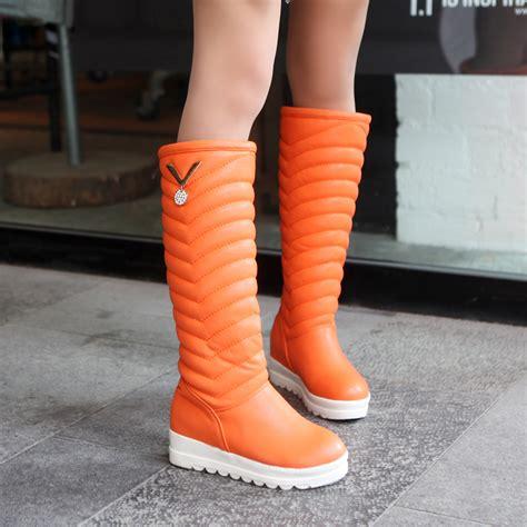 winter boots warm plush fur knee high boots black
