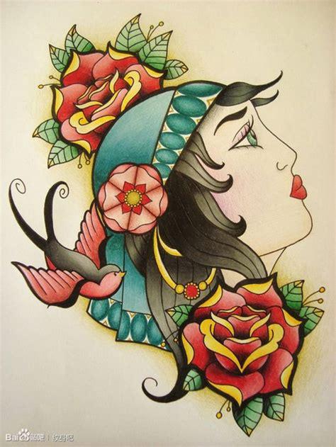 潮流经典的欧美school风格的美女纹身手稿