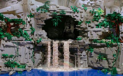 lego waterfall tutorial lego cave waterfall lego inspirations pinterest