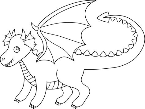 simple dragon coloring page cute colorable dragon free clip art