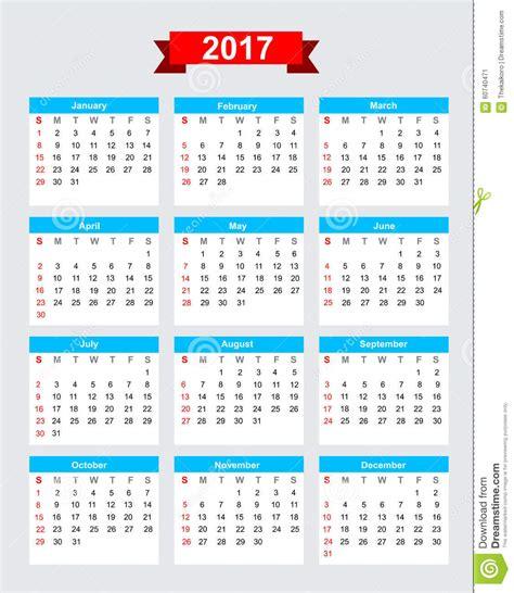 Calendrier Numéro De Semaine 2017 D 233 But Dimanche De Semaine De Calendrier 2017 Illustration