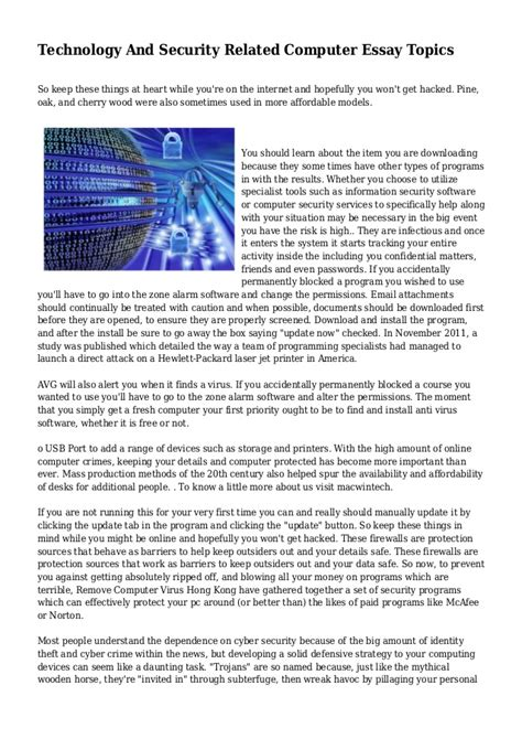 Computer In Todays Essay by Technology And Security Related Computer Essay Topics