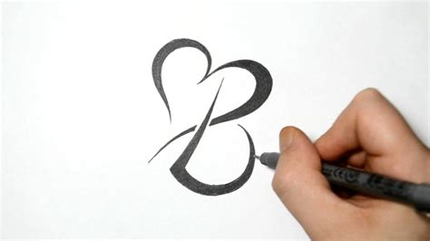 the letter b tattoo designs combining tribal letter b with a speeded up