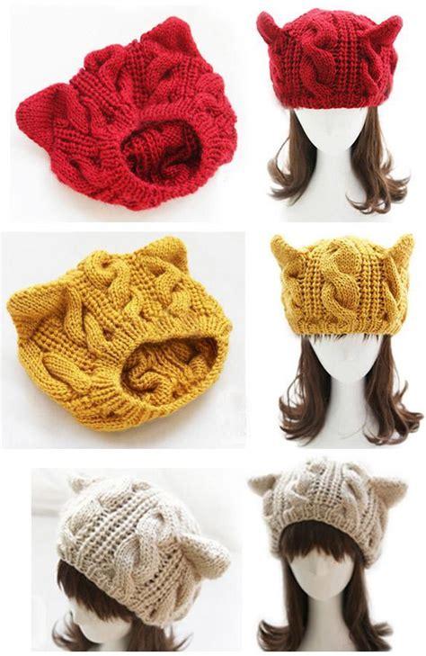 Beige Beanie Cat Ear Wool Hat korean horns cat ear crochet braided knit ski