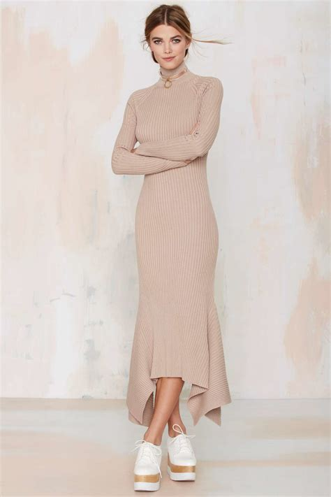 Knit Maxi Dress lyst gal kozmic ribbed knit maxi dress in pink