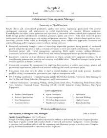 resume format exles for steel fabrication fabrication development manager resume