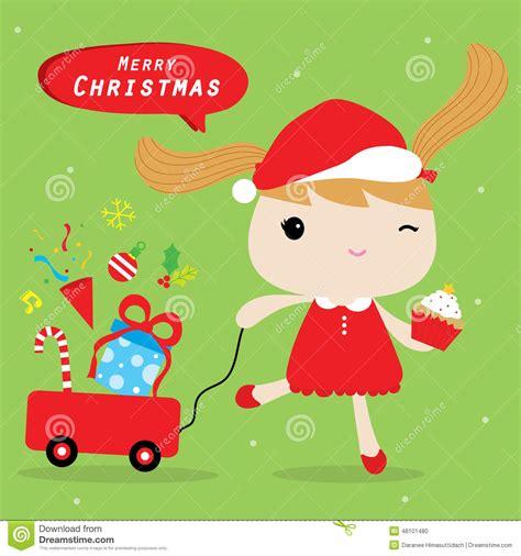 girl love merry christmas cute cartoon vector stock vector image