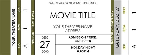 search results for movie ticket template word calendar