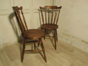 pair  beech elm country kitchen dining chairs
