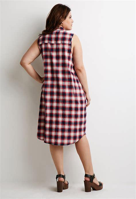 Tartan Maxi Dress Cleo forever 21 plus size tartan plaid maxi dress in lyst
