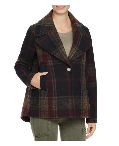 plaid swing coat laundry by shelli segal plaid swing coat in black lyst