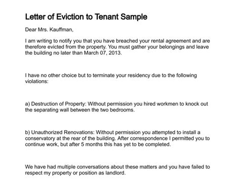 Letter Of Eviction Landlord Eviction Letter Template