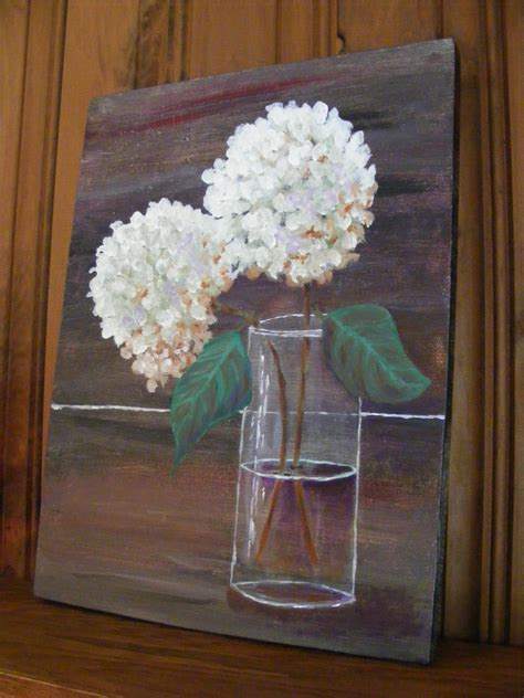 acrylic painting glass vase painting of hydrangeaacrylic painting of white hydrangeas in