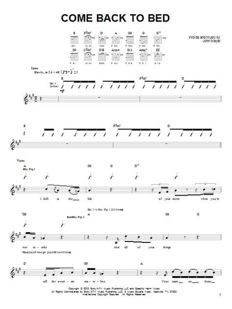 come back to bed come back to bed sheet music by john mayer easy guitar