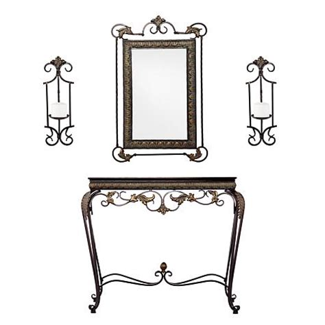 Mirror And Sconce Set console mirror sconce pair 4 set 7303535 hsn