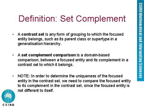 a setter definition definition set complement